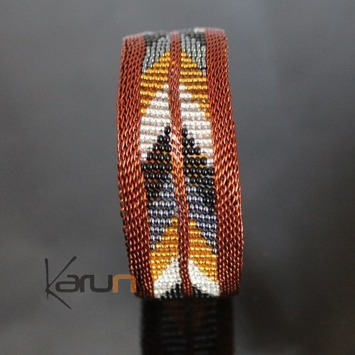 Ethnic Zulu Design Copper Beads Cuff Bracelet Mahatsara 0,98 Inches Black/Grey/Yellow/White