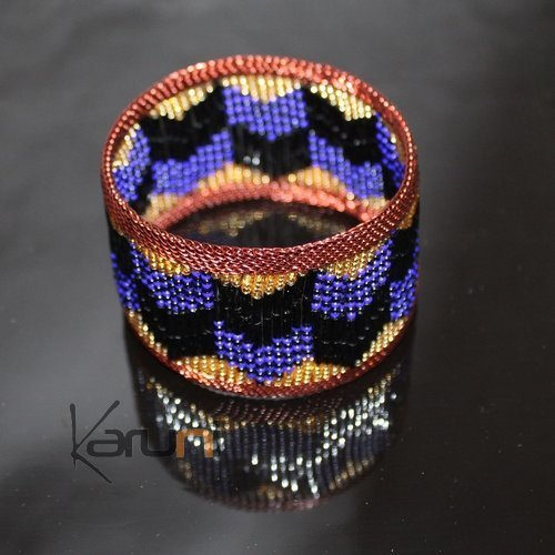 Ethnic Zulu  Design Copper Beads Large Cuff Bracelet Mahatsara 1,37 Inches Blue/Gold/Black