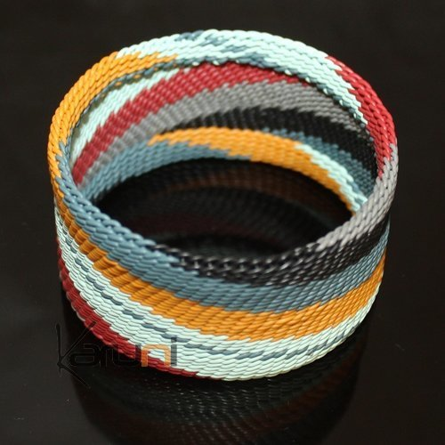 Ethnic Zulu Design Cuff Bracelet Telephone Wire Mahatsara 1,37 Inches Black/Red/Blue/Yellow/Grey Braiding
