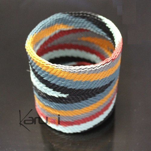 Ethnic Zulu Design Large Cuff Bracelet Telephone Wire Mahatsara 2,75 Inches Black/Red/Grey/Yellow/Blue Rafters