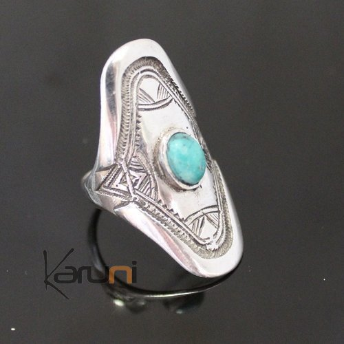 Ethnic Marquise Ring Sterling Silver Jewelry Turquoise Engraved Tuareg Tribe Design 57