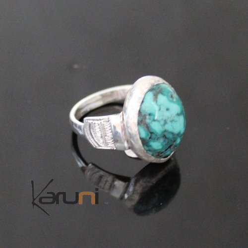 Nigerian Silver Turquoise Ring 60