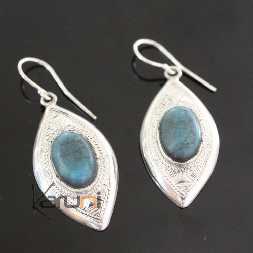 Ethnic Earrings Sterling Silver Jewelry Silver Drops Turquoise Tuareg Tribe Design 65