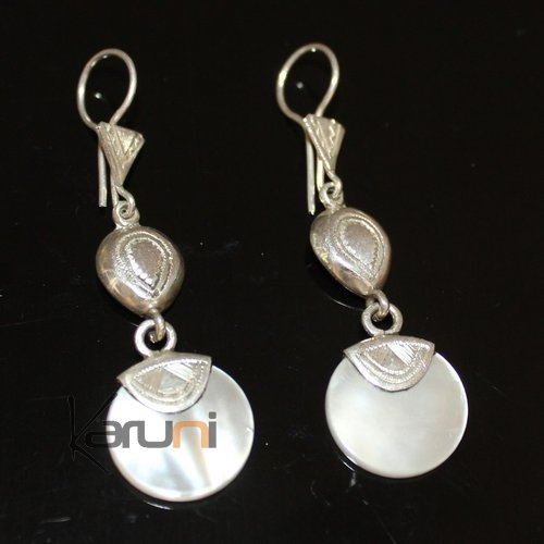 Ethnic Earrings Sterling Silver Jewelry Round Mothr of Pearl Lacy Pendants Tuareg Tribe Design 40