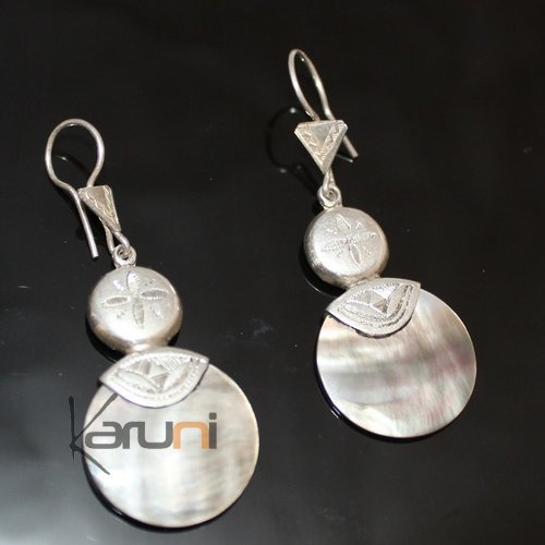 Ethnic Earrings Sterling Silver Jewelry Round Mothr of Pearl Lacy Pendants Tuareg Tribe Design 39