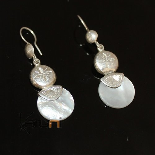 Ethnic Earrings Sterling Silver Jewelry Round Mothr of Pearl Lacy Pendants Tuareg Tribe Design 38