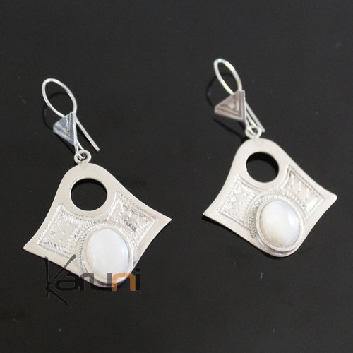 Ethnic Earrings Sterling Silver Jewelry Round Mothr of Pearl Lacy Pendants Tuareg Tribe Design 37