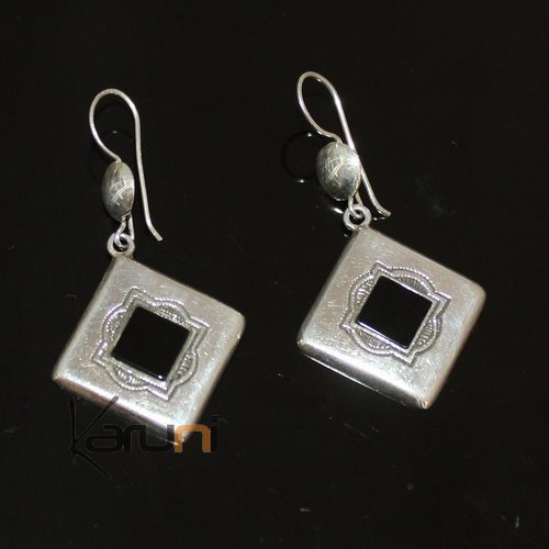 Ethnic Earrings Sterling Silver Jewelry Onyx Rectangle Small Lotus Tuareg Tribe Design 104