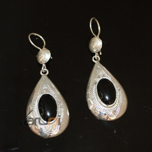 Ethnic Earrings Sterling Silver Jewelry Onyx Rectangle Small Lotus Tuareg Tribe Design 106