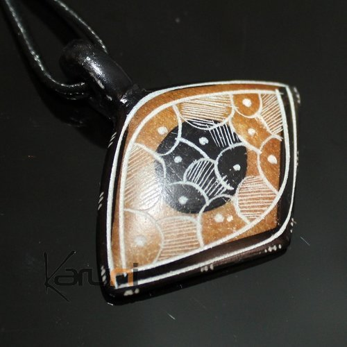 Ethnic Tuareg Jewelry Necklace Pendant Soap Stone Engraved 87