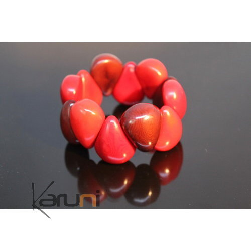 Vegetable Ivory Seed Bead Bracelet Tagua Bordeaux Red