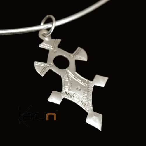 African Southern Cross Necklace Pendant Sterling Silver Ethnic Jewelry from Inabagret Niger Tuareg Tribe Design 01