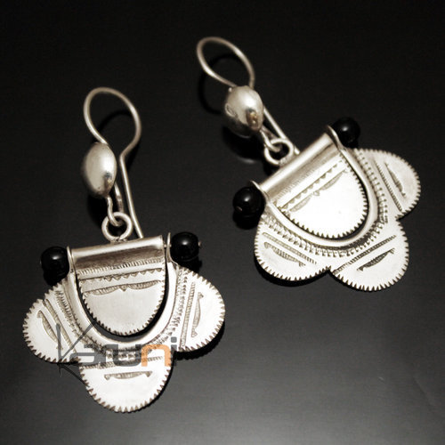 Tuareg Earrings Pendant Flowers in Silver and Black pearl 54