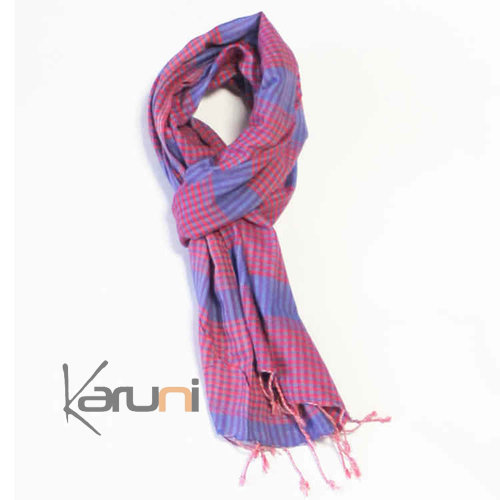 Scarf Stole Krama Cotton Cambodia Design Men/Women Small Checks Plaid Syrana Sarany Shop Light Blue/Pink 160x55 cm