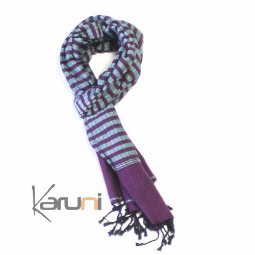 Scarf Stole Krama Cotton Cambodia Design Men/Women  Plaid Syrana Purple / Blue 160x55 cm