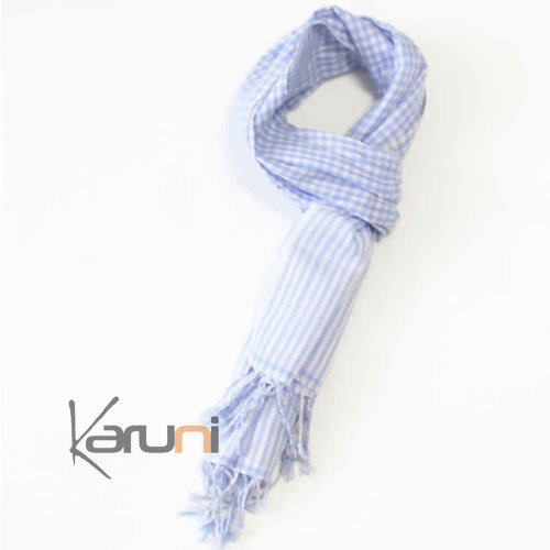 Scarf Stole Krama Cotton Cambodia Design Men/Women  Plaid Syrana Light Blue 150x55 cm