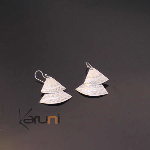 Exclusive Silver Earrings Engraved Fan