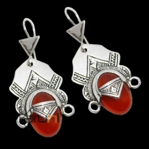 Tuareg pendant Desert Goddess Earrings in silver and Orange-Red Agate Stone 56
