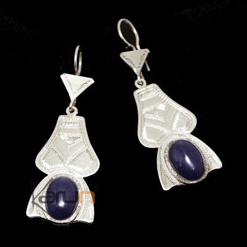 Tuareg earrings silver and blue agate