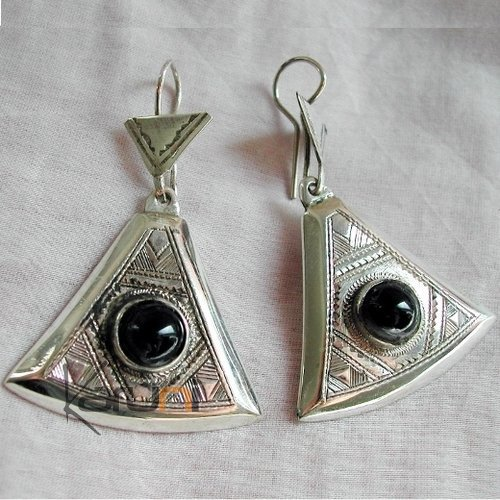 Tuareg triangle earrings chiseled silver and black onyx
