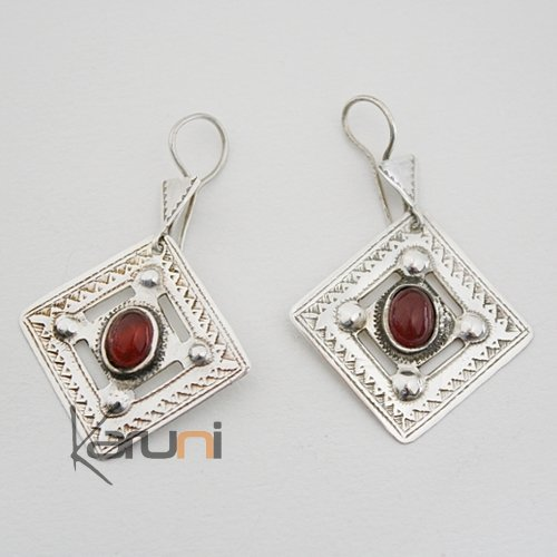 tuareg square earrings chiseled silver and oranged brown agate