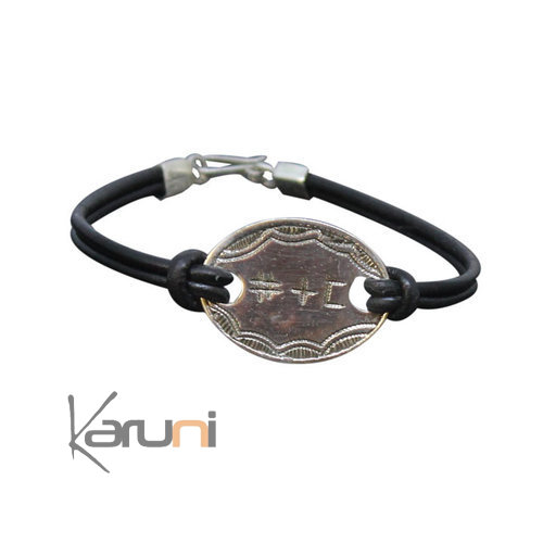 Leather Silver Bracelet I Love You Tifinagh
