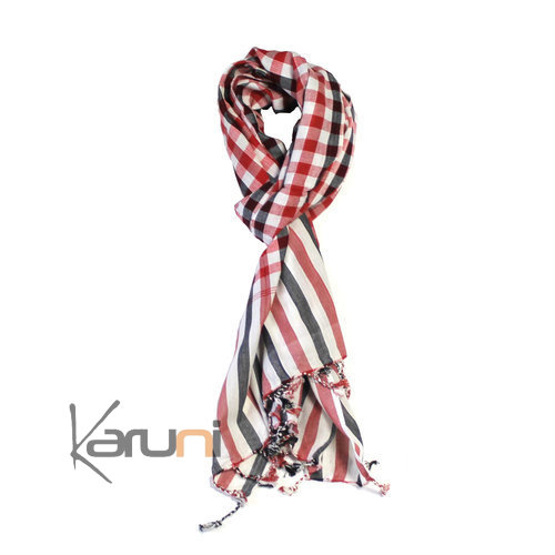 Krama Cheche Scarf Black Red Scarf