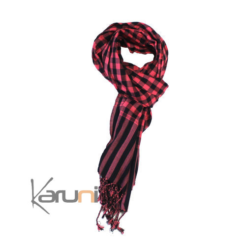 Scarf Stole Krama Cotton Cambodia Design Men/Women Big Checks Plaid Bassac Black / Red