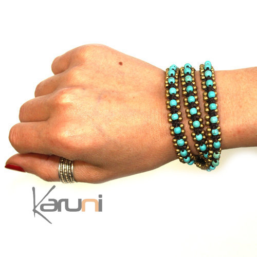 Bracelet multi ranks 3 turns turquoise pearls fabrics cambodia