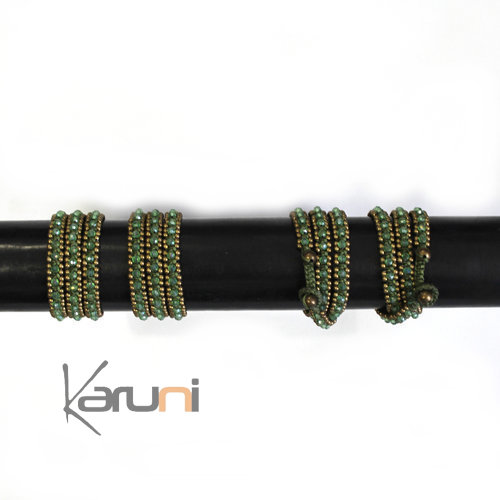 Bracelet multi-row 3 turns pearls Green fabrics cambodia