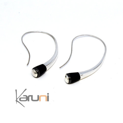 Long Nigerian Silver wire Ebony Hoops