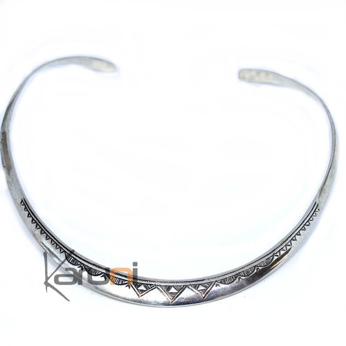 Silver Necklace Choker Engraved Large Torque