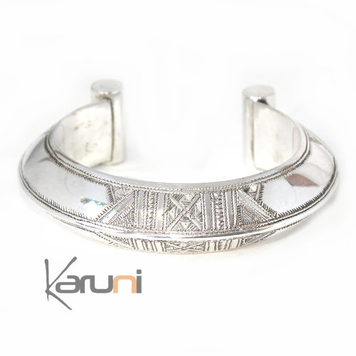 Ethnic Bracelet Sterling Silver Jewelry Large Rounded Engraved Tuareg Tribe Design