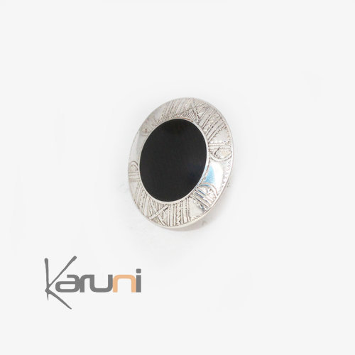 Nigerian Silver Ebony Circle Ring 2
