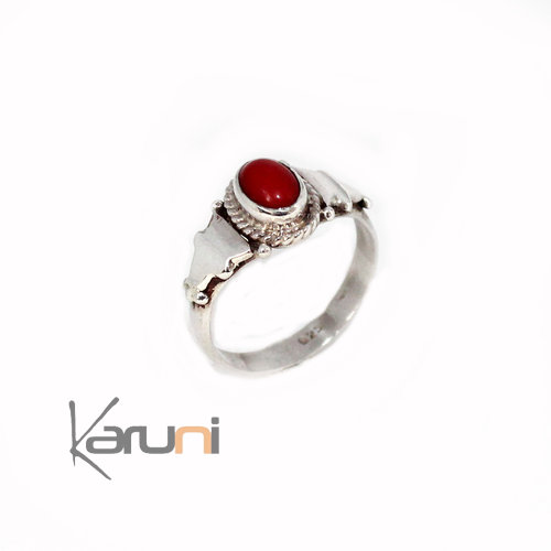 Nepalese Silver Red Agath Ring