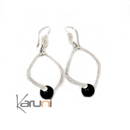 Ethnic Drop Earrings Sterling Silver Jewelry onyx