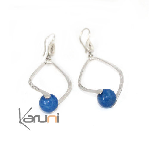 Ethnic Drop Earrings Sterling Silver Blue Agath Jewelry