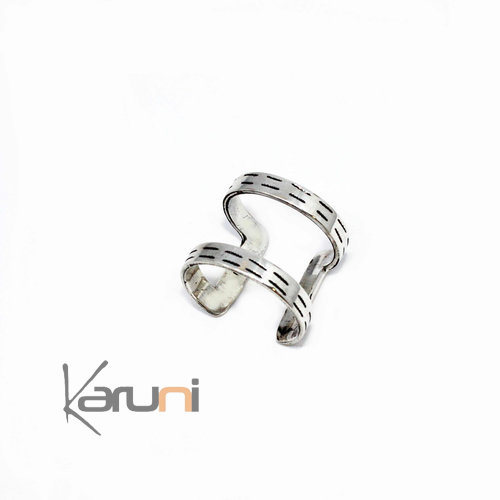 Silver adjustable double Ring
