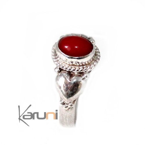 Fine 925 Heart Sterling Silver Nepal red Onyx Ring