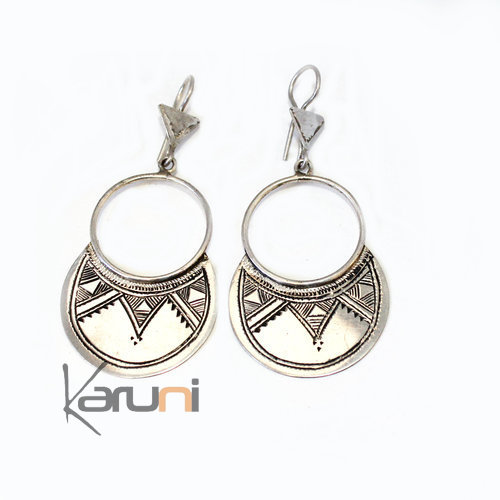 Ethnic Hoop Earrings Sterling Silver Jewelry Engraved Flat Tuareg Tribe Design 3018