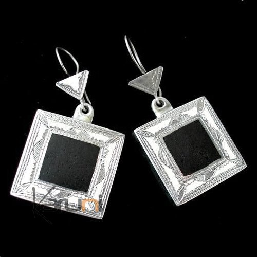 Ethnic Jewelry Tuareg Earrings in Silver Ebony Square Engraved 01