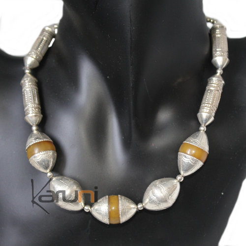 Silver Necklace and Resin Beads