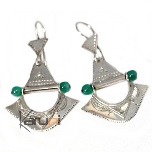 Ethnic Earrings Sterling Silver Jewelry Engraved Green Beads Fan Tuareg Tribe Design 4066