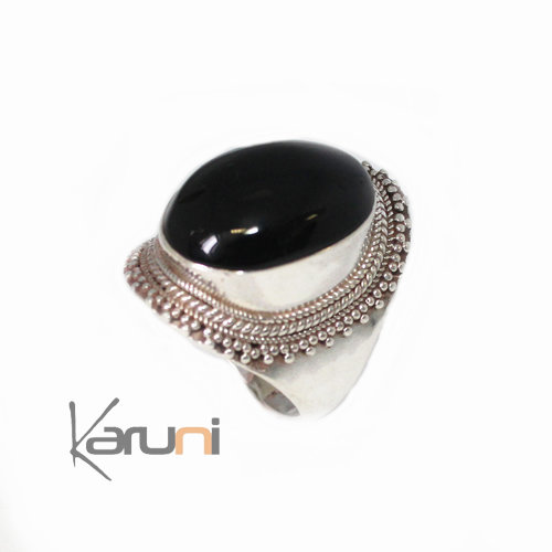jewelry ethnical silver Onyx Signet ring Pari 1054