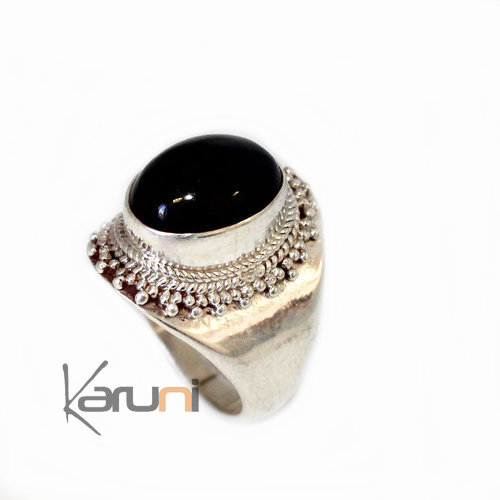 jewelry ethnical silver Onyx Signet ring 1055