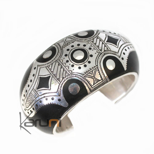 Large Exclusive bracelet engraved sterling silver Ebony 3040