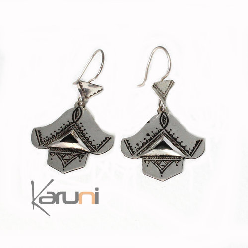 Ethnic Earrings Sterling Silver Fanearrings Tuareg Tribe Design 5041