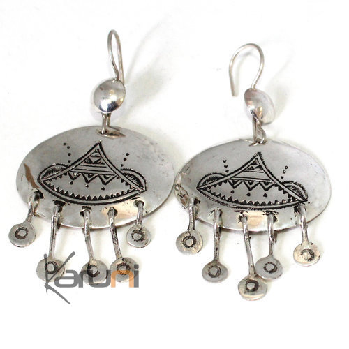 Tuareg Earrings Engraved Berber Silver 5042