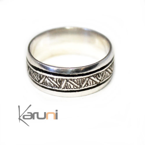 Ethnic Engagement Ring Wedding Jewelry Sterling Silver Ebony semi-large Men/Women Ebony 1092