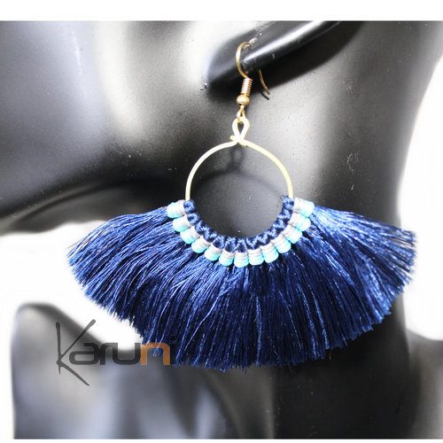 Dark blue Yarns Fancy Earrings 4027